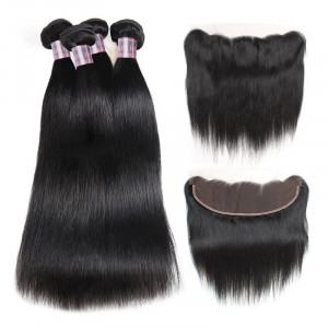 Peruvian Straight Hair Weave 4 Bundles With Ear to Ear Lace Frontal Closure 100% Remy Virgin Human Hair Bundles