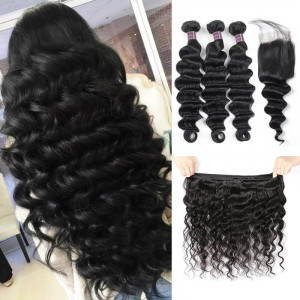 virgin brazilian loose deep wave hair 3 bundles with lace closure