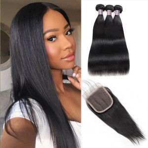 virgin brazilian straight hair 3 bundles with 4 4 lace closure  human hair