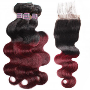 virgin remy hair 99j ombre burgundy color body wave 3 bundles with 4 4 lace closure