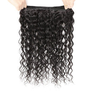Wave Human Hair Weave Bundles 1pc Natural Black Non Remy Hair Extensions