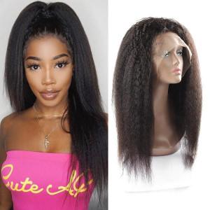 Brazilian Kinky Straight Hair Wig 13X4 Lace Front Yaki Human Hair Wigs