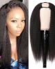 U Part Wig Kinky Straight Human Hair Wigs Natural Looking Quick and Easy Install
