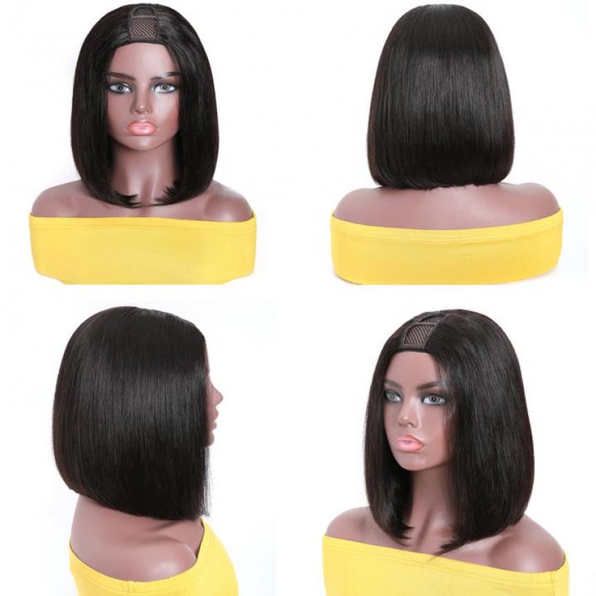 U Part Bob Wig Natural Color Brazilian Human Hair Upart Wigs