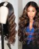 U Part Body Wave Wig Human Hair Wigs Dark Auburn 100% Human Hair Super Soft