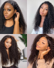 U Part Wig Kinky Curly Right Side U Part Human Hair Wigs 150% Density Glueless Natural Looking Hairline