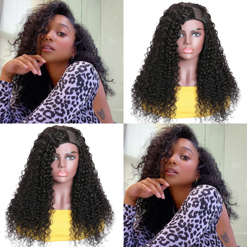 Upart Wigs Jerry Curly Human Hair Glueless Left Side U Part Wigs 100% Human Hair Super Soft