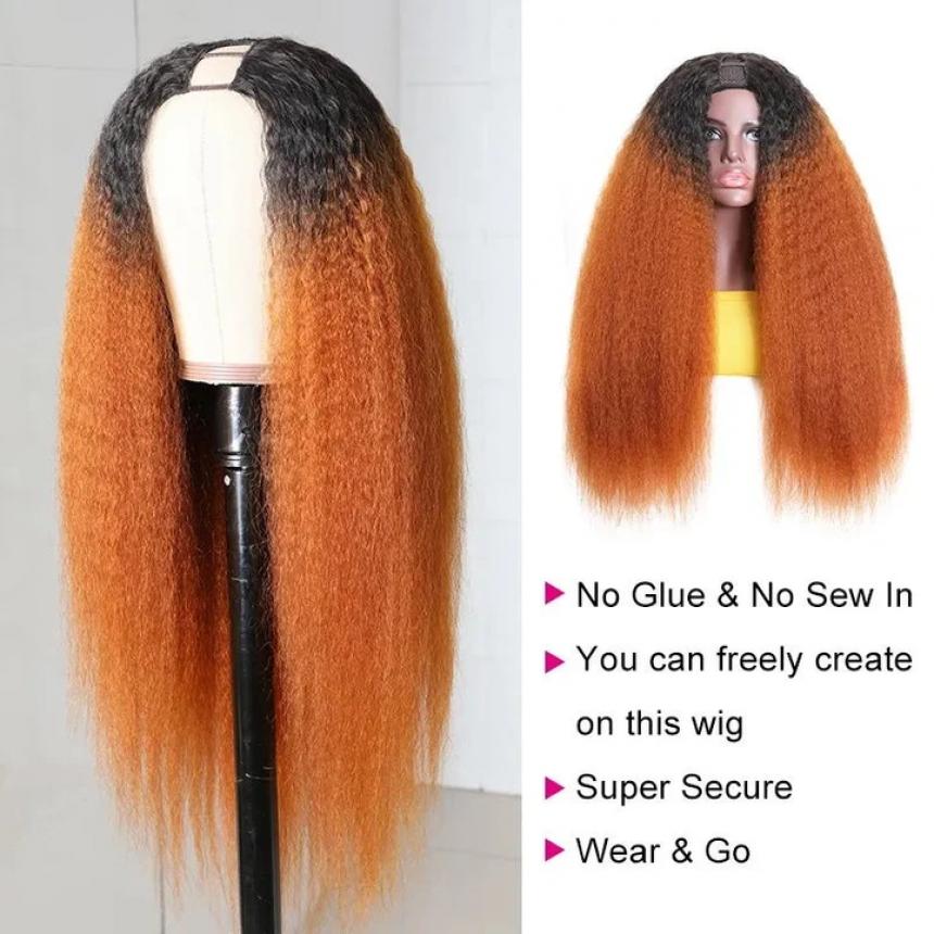 U Part Wig 100% Brazilian Remy Human Hair T1b/30 Ombre Kinky Straight Wigs 200% Density T1b/30 Ombre
