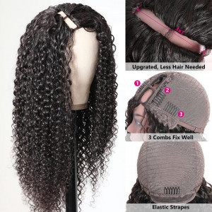 Jerry Curly Hair U Part Wig Side Part Glueless Easy To Wear Human Hair Wigs 150% Density