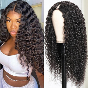 Jerry Curly U Part Wig Middle Part Unprocessed Virgin Hair Wigs 150% Density Natural Color Glueless Wigs