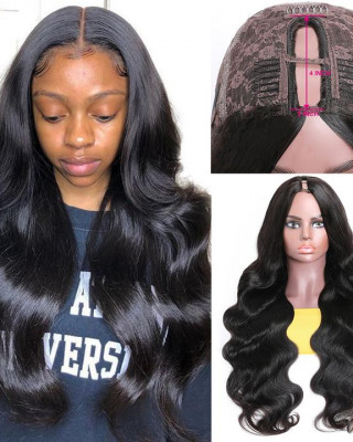 U Part Wigs Body Wave Human Hair Wig Middle Part Glueless Long Wigs Natural Black Color
