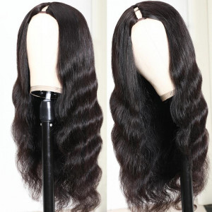 Middle Part Body Wave U Part Human Hair Wig  Glueless Long Wigs Natural Black Color