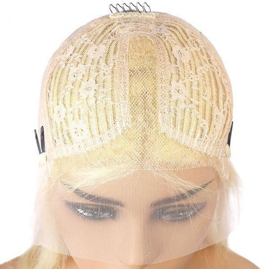 613 Blonde T-Part Lace Front Straight Short Bob Human Hair Wig