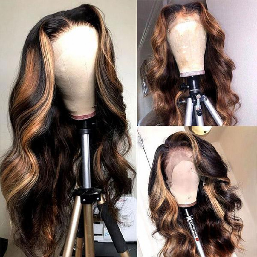 Honey Blonde Ombre Hair T-Part Straight/Body Wave Human Hair Wigs
