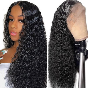 Deep Wave Hair T-part Lace Front Wig 100% Virgin Human Hair Wigs
