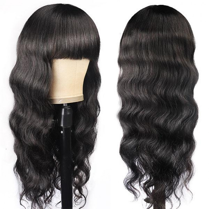 New Arrival Body Wave Machine Made Human Hair Wig With Free Part Bangs