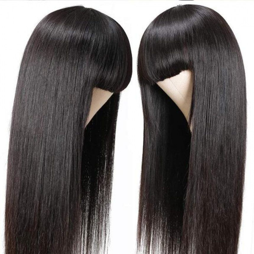 Straight Full Machine Made Wig With Neat Bangs No Lace Affordable 100% Human Hair Wig
