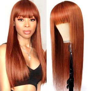 New Arrival Ginger Color Machine Made Straight Human Hair Wigs With Bangs