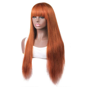 Cheap Colored Wigs Ginger Color Machine Made Straight Human Hair Wigs With Bangs