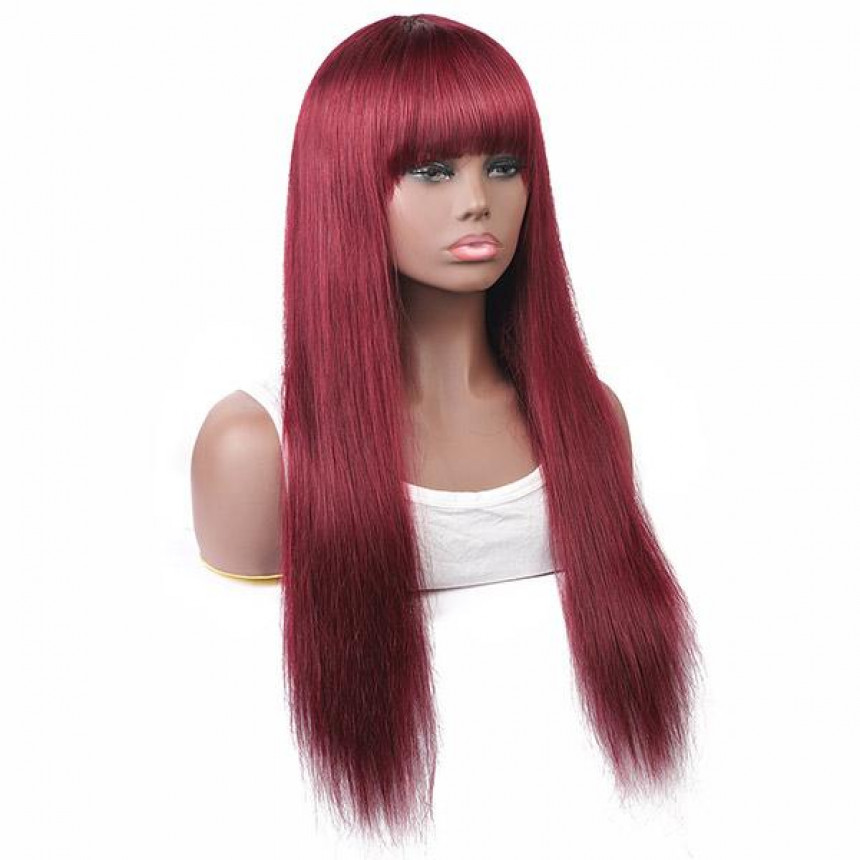 Colored Wigs 99J#  Straight Virgin Human Hair Wigs Machine Made Wigs With Bangs
