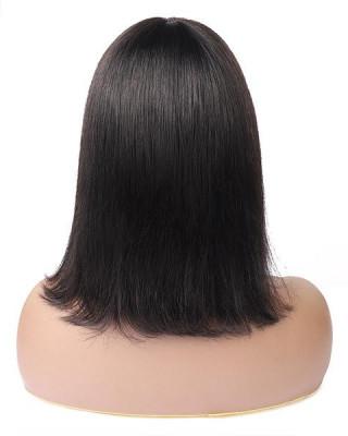 Straight Hair Machine Made Short Bob 100% Human Hair With Bangs