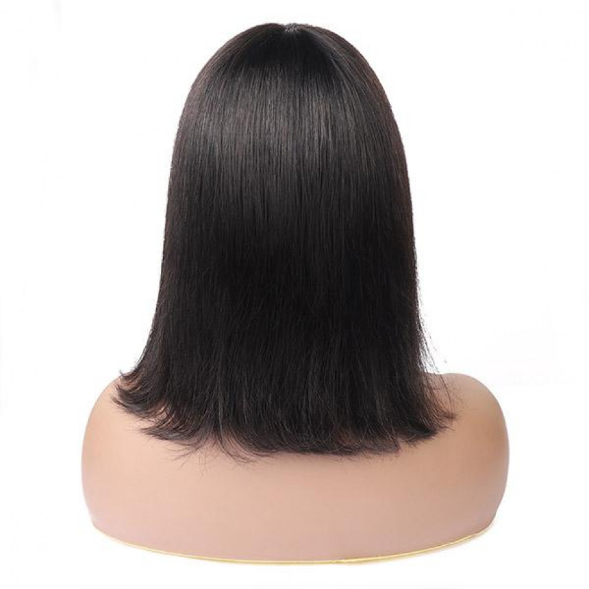 Straight Hair Machine Made Short Bob 100% Human Hair With Bangs For Black Women
