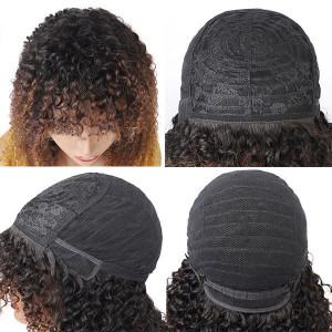 Ombre Three Color Machine Made Curly Wigs 100% Human Hair Wig With Bangs