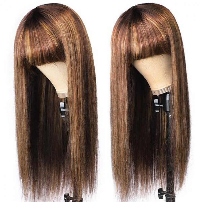 colored wigs for sale 150% Density Honey Blonde Highlight Brown Ombre Straight Human Hair Wigs Machine Made Wigs With Bangs