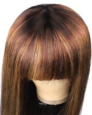 150% Density Honey Blonde Highlight Brown Ombre Straight Human Hair Wigs Machine Made Wigs With Bangs