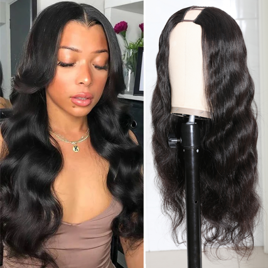 U Part Super Easy Affordable Glueless Body Wave Wigs 100% Human Hair Wig